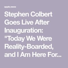 """Stephen Colbert Goes Live After Inauguration: """"Today We Were Reality-Boarded, and I Am Here For It"""" Stephen Colbert, The Hollywood Reporter, Kamala Harris, Joe Biden, Presidents, Families, Live, My Family, Households"""