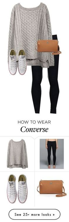 """C is for... Converse& cross body"" by graciegerhart7 on Polyvore featuring lululemon, Converse and Tory Burch"