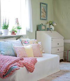 Pretty pastel pillows and romantic chic decor...