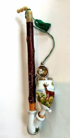 Antique German Ulmer Pipe Ceramic and Twig 1900's