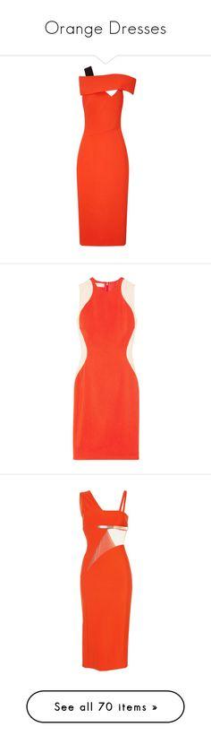 """Orange Dresses"" by sakuragirl ❤ liked on Polyvore featuring dresses, orange, red asymmetrical dress, red cap sleeve dress, neon dress, slit dress, neon orange dress, bright orange, rose dress and stella mccartney dresses"