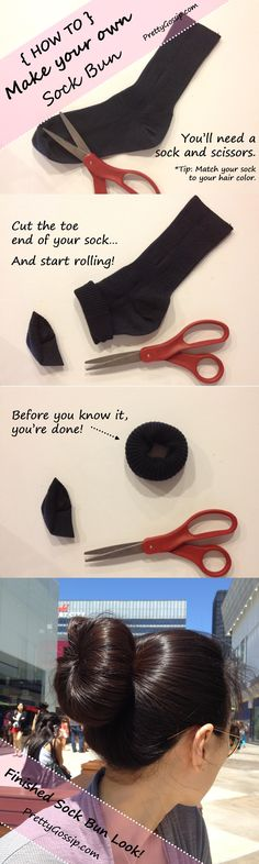 DIY: How to make a Sock Bun in 2 Steps on http://prettygossip.com/2012/07/31/how-to-make-a-sock-bun/#