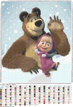 schema punto croce masha e orso 1 | Hobby lavori femminili - ricamo - uncinetto - maglia