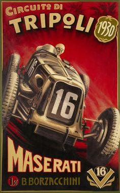 Robert Carter: Maserati 'Sedici Cilindri', oil on canvas, original celebrating Borzacchini's victory at the 1930 Grand Prix of Tripoli. Pin Ups Vintage, Pub Vintage, Vintage Race Car, Poster Ads, Car Posters, Italian Posters, Garage Art, Automotive Art, Vintage Travel Posters