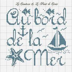 Mer - sea - au bord de la mer - point de croix - cross stitch - Blog : http://broderiemimie44.canalblog.com/: