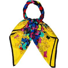 Pre-owned Versace Butterfly Print Scarf ($75) ❤ liked on Polyvore featuring accessories, scarves, black, colorful scarves, butterfly scarves, woven scarves, versace scarves and colorful shawls