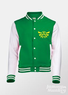 Green Triforce Varsity Jacket inspired by The Legend of Zelda