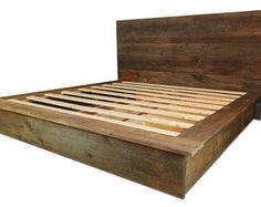 Urban Reclaimed Platform Bed with Contemporary Headboard