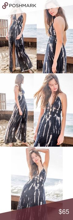 🆕POPPY tie dye maxi dress - NAVY A tie dye maxi dress with a plunging neckline with a elasticized smocked waist line and cami straps. This dress is made with medium weight tie-dyed fabric that has very beautiful patterns. Soft, drapes well and stretches very well.  🚨NO TRADE, PRICE FIRM🚨 Bellanblue Dresses Maxi