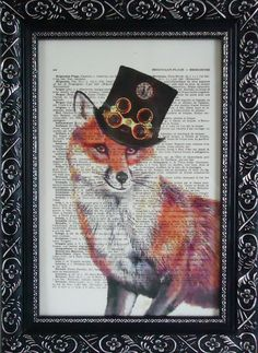 FOX ART Fox print with steampunk hat fox ORIGINAL artwork fox on an vintage dictionary page french fox mixed media Antique book page (320) via Etsy.