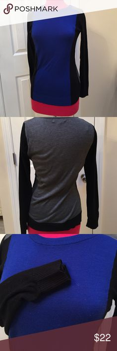 Nwot CK Block sweater Beautiful Calvin Klein silk, block sweater in royal blue black and gray. Very comfortable and could be worn with anything.  55% rayon   45% silk Calvin Klein Tops