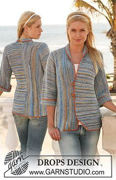 """Ravelry: 112-36 Jacket in garter st in """"Fabel,"""" knitted in 2 pieces with different knitting directions pattern by DROPS design"""