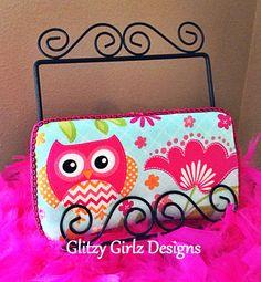 "Hot pink, green, orange chevron ""OWL"" print baby girl diaper bag travel wipe case on Etsy, $15.00"
