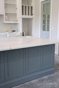 Home Decor Cozy Blue gray kitchen island paint color.Home Decor Cozy Blue gray kitchen island paint color Painted Kitchen Island, Blue Kitchen Island, Blue Kitchen Cabinets, Kitchen Cabinet Colors, Kitchen Redo, Home Decor Kitchen, Kitchen Interior, Home Kitchens, Painted Island