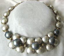 SCHIAPARELLI  Shades Of  Platinum Large Pearls Necklace