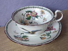 antique art deco tea cup and saucer set, Aynsley English bone china tea set, bird tea cup.