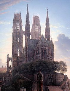 Karl Friedrich Schinkel - Gothic cathedral in the waterfront