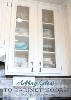 how to add glass to cabinet doors tutorial shows how to cut the panel out - Paint Inside Kitchen Cabinets