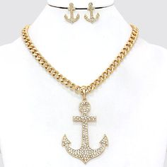 Nautical Anchor Pave Crystal Accent Gold Tone Chain Necklace and Earring