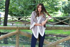 Pure Cashmere open Poncho in Beige Melange and Ivory. Hand made and super cosy