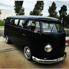 VW flat black bus # clean be van VW bus. X Bros Apparel Vintage Motor T-shirts, VW Beetle & Bus T-shirts, Great price Volkswagen Transporter, Vw T1 Camper, Vw Caravan, Auto Volkswagen, Kombi Clipper, Carros Vintage, Combi T2, Combi Split, Kdf Wagen