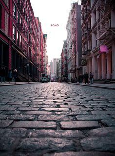 Still lots of early paved streets like this in lower Manhattan. Hell on high heels.