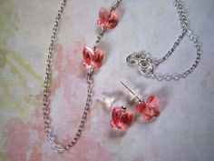 Girls Swarovski Crystal Butterfly Necklace and Earring Set Flower Girl by lindasorigjewelry on Etsy