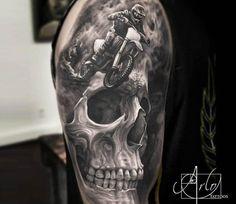Motocross Skull tattoo by Arlo Tattoos