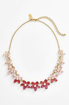 Pretty in pink! Love this sparkly Kate Spade 'ombré bouquet' crystal collar necklace.