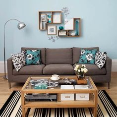 Blue, brown and white living room