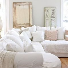 My completely impractical obsession with white couches continues: Dreamy Whites - eclectic - family room - other metro - Dreamy Whites