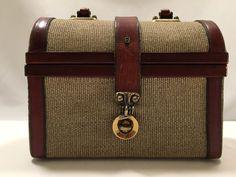 Vintage Etienne Aigner Purse Canvas Leather Handbag #EtienneAigner #Satchel