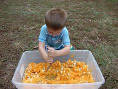 pumpkin sensory - put all the innards of pumpkins from math station in the sensory tub & kids can use utensils & just play in it.