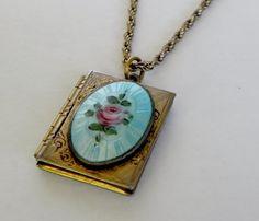 Vintage Rose Guilloche Gold Filled Book Locket Pendant Necklace Bridal Wedding Something Blue via Etsy
