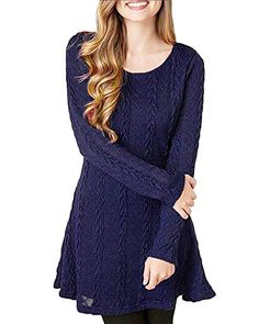 e7899b10f84 Women s Pullover Sweaters - HAPEE Womens Crewneck Knitted Long Sleeve Sweater  Dress    Read more