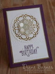 elegant handmade card for birthdays or many occasions, using Stampin Up Eastern Beauty - Eastern Medallions bundle from Eastern Palace suite. Card by Di Barnes annual catalogue Eastern palace eastern beauty Handmade Birthday Cards, Happy Birthday Cards, Greeting Cards Handmade, Motif Oriental, Eastern Palace, Happy Birthday Gorgeous, Stamping Up Cards, Creative Cards, Homemade Cards