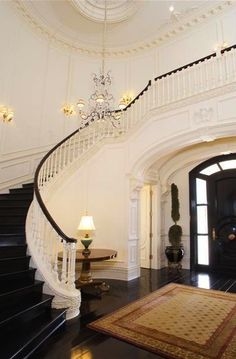 Staircase winding up & back over the front door - pic 1 of 2
