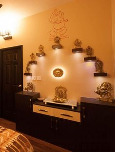 pooja puja wall temple mandir prayer indian colour decoration designs ghar paint decor tiles colors rooms luxurious rangoli homes place