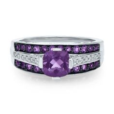 Cushion Cut Amethyst & Diamond Ring in 10K Gold, available at #HelzbergDiamonds