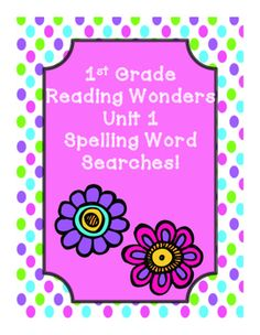 This includes word searches for First Grade Reading Wonders Unit 1. Stories: Nat and Sam Go, Pip! Flip Friends Move It! Also includes a spelling word search for all unit 1 spelling words! This is a great and fun way for the students to review spelling words! Click here to check out my other 1st Grade Reading Wonders supplemental materials