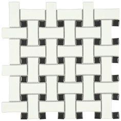 Merola Tile Metro Basket Weave Matte White and Black 10-1/2 in. x 10-1/2 in. x 5 mm Porcelain Mosaic Tile