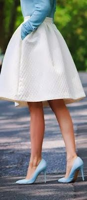 Blue pastel top and heels with tulip skirt.