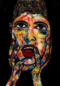 "Saatchi Art Artist CARMEN LUNA; Painting, ""60-RETRATOS Expresionistas. Feliz Sorpresa."" #art http://www.saatchiart.com/art-collection/Painting-Assemblage-Collage/Expressionist-Portrait/71968/51263/view"