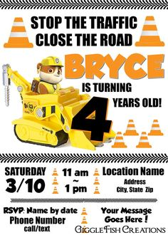 Invitation features Rubble and his bulldozer, perfect for a Paw Patrol or Construction themed party. ORDER (details & how to order) the digital invitation:  - Will be created with your party details specified when ordering  - File is 5 x 7 JPG (other sizes available by request)  - Delivered by email as a JPG file (no physical product will be shipped) PRINT:  - Print the file at home, any photo printing store or office supply store that offers printing services