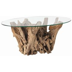 Driftwood glass cocktail table