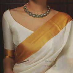 Sari Design, India Design, Stylish Sarees, Trendy Sarees, Simple Sarees, Kerala Saree Blouse Designs, South Indian Blouse Designs, Traditional Blouse Designs, New Blouse Designs