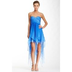 La Femme Beaded Strapless Hi-Lo Dress