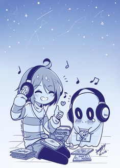 Frisk and Napstablook | alexyshg