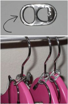 Closet Organizing Hacks & Tips Need more room in the closet? Try can tabs to create double clothes hangers. Closet Organizing Hacks and Tips. Home Improvement and Spring Cleaning Ideas for your Nest. Ideas on Frugal Coupon Living. Organisation Hacks, Organizing Hacks, Cleaning Hacks, Diy Organization, Organising, Dorm Hacks, College Hacks, Organization Ideas For Bedrooms, Hacks Diy