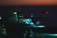 161026-N-QJ850-119 ATLANTIC OCEAN (Oct. 26, 2016) An MV-22B Osprey, assigned to Marine Medium Tiltrotor Squadron 365 (VMM-365), lands on the flight deck of amphibious assault ship USS Iwo Jima (LHD 7) during flight operations. Iwo Jima is returning to her homeport of Mayport, Fla., after off-loading Marines and equipment following the completion of humanitarian and disaster relief efforts in Haiti. (U.S. Navy photo by Petty Officer 2nd Class Andrew Murray/Released)
